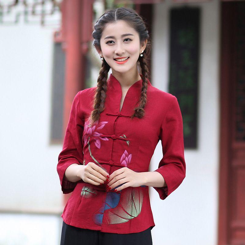 ff521a35731 Cheap Rojo Señora de Primavera y Verano de Algodón Blusa Ocasional de Las  Mujeres Chinas de Lino Impresa Camisa de la flor de La Vendimia Botón de  Tamaño ...