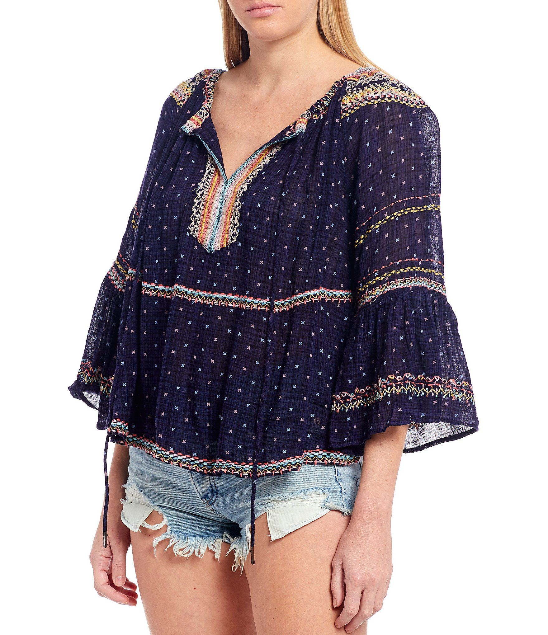 Free People Talia Embroidered Split V-Neck 34 Bell Sleeve Blouse - XS