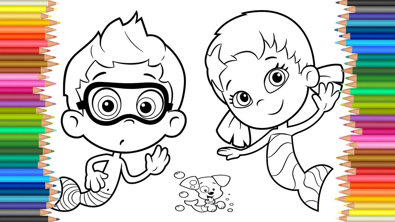 Coloring Paje Bubble Guppies Oona and Nonny l learning Colours l ...