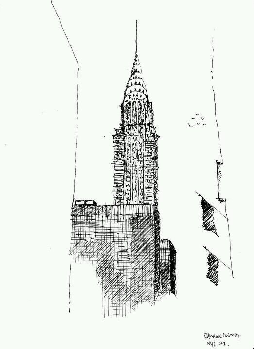 The Chrysler Building Sketch New York Tattoo Design New York