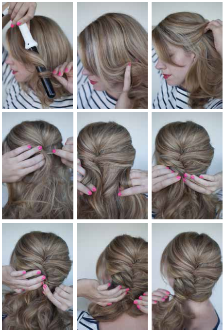 curly side ponytail step