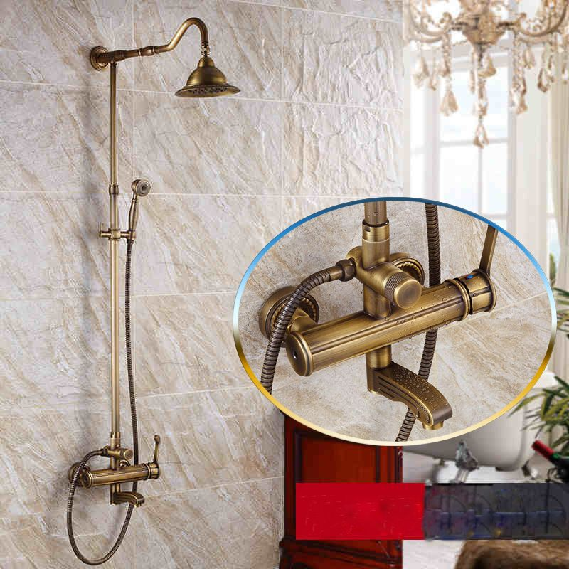 Antique Brass Single Handle Rainfall 8 Shower Head Bathroom Shower Mixer Set Wall Mounted With Hand Shower Tub Spout Bathroom Fixtures Shower Faucet Sets Bathroom Fixtures Bathroom Shower Faucets