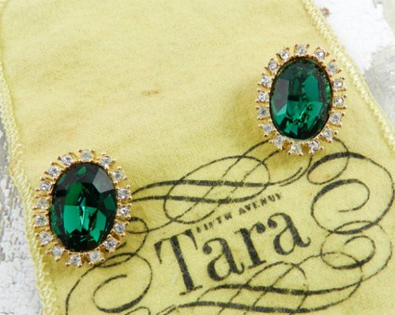 Green Glass Earrings Rhinestone Designer Signed Tara by OurBoudoir
