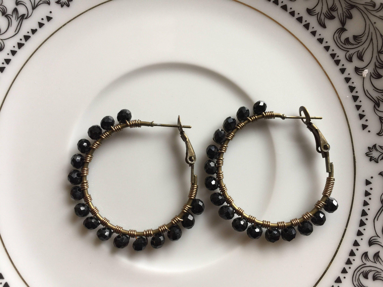 Black hoops,Black crystal earring, wire wrapped hoops, beaded hoop ...