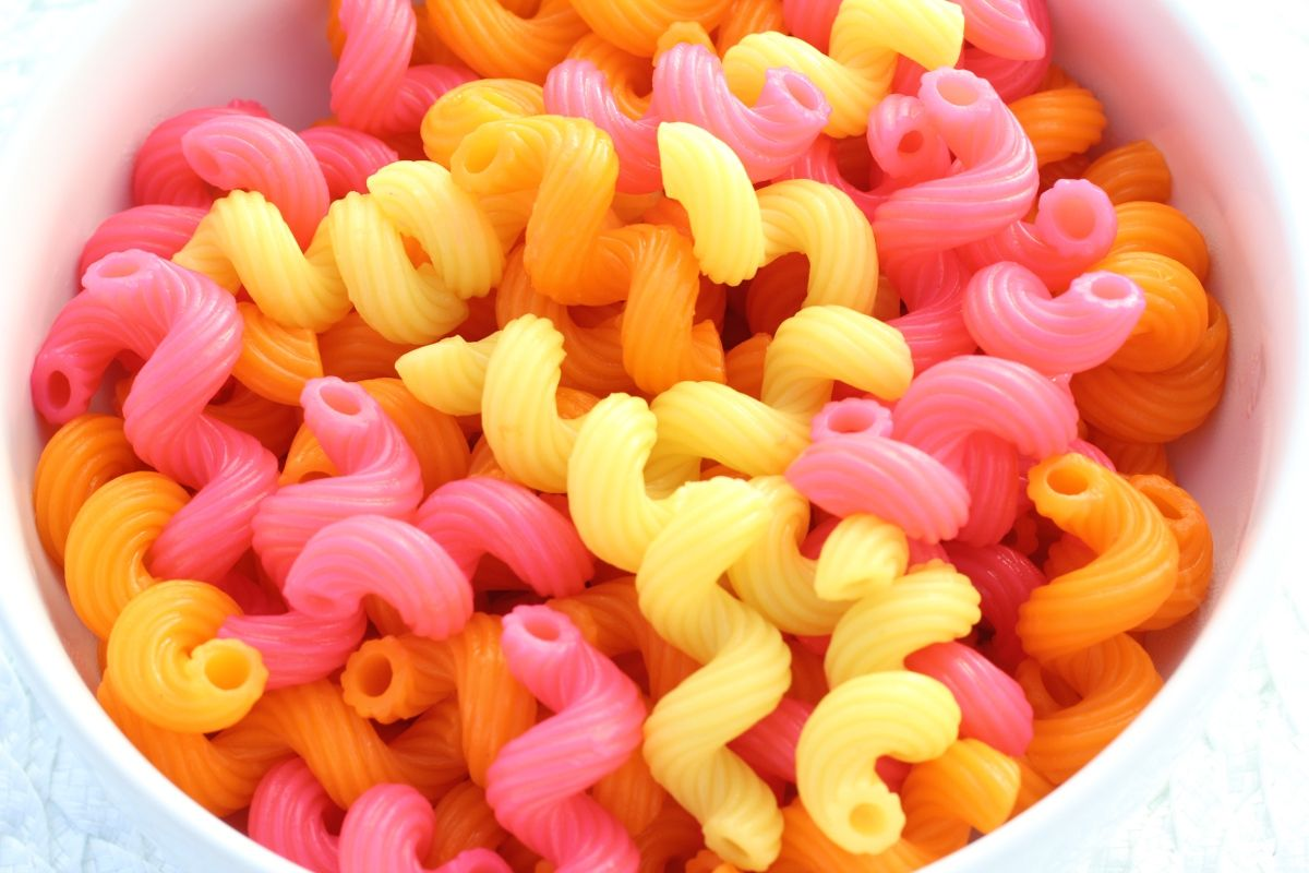 add food coloring to your boiling water to color your noodles!   kids love it ;-) oh my gawsh what?!?!?! brilliant
