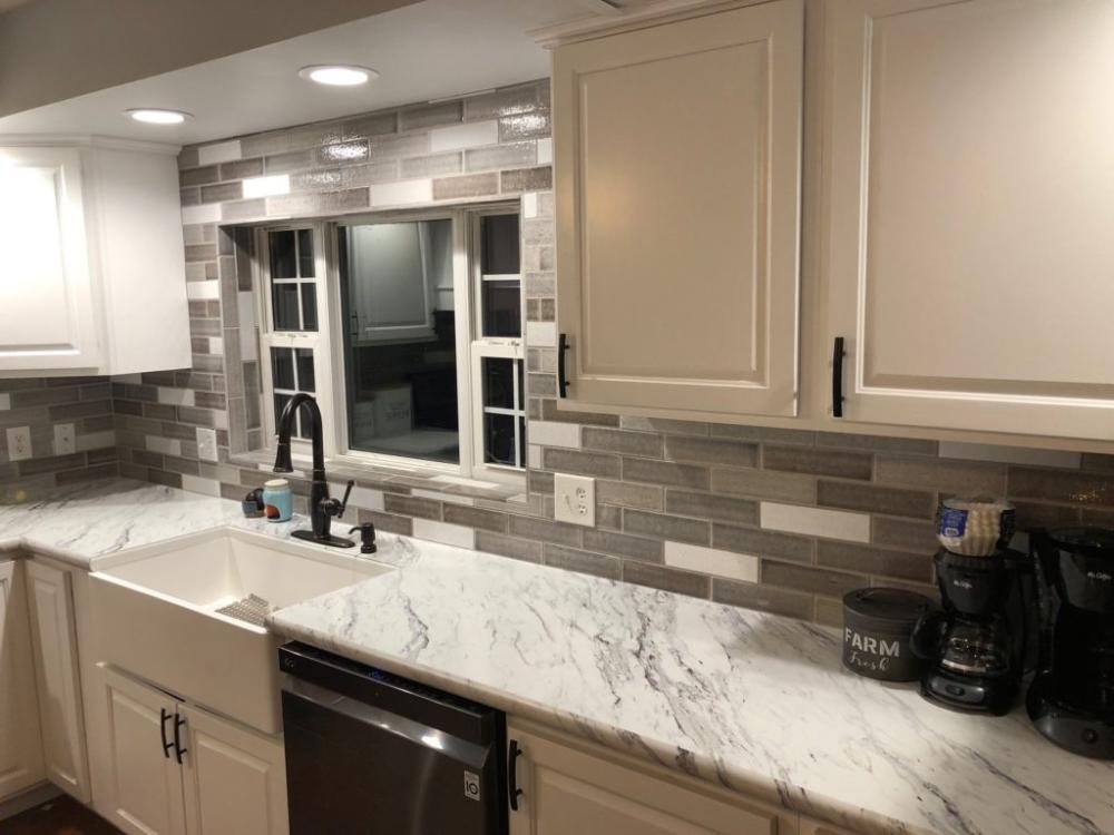 Beautiful Tile Backsplash Installation In Bloomington Indiana In 2020 Beautiful Tile Backsplash Kitchen Backsplash Beautiful Tile