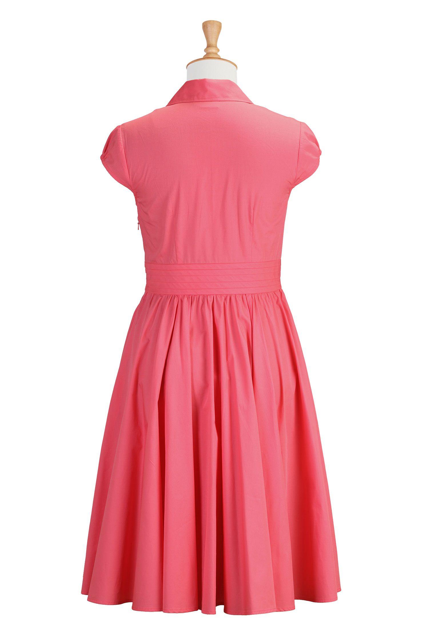 Sunkist Coral Cotton Poplin Dresses, Full Circle Skirt Dresses Shop women's designer dress: Women's stylish dress, Missy, Plus, Petite, Tall...