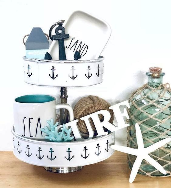 Photo of Tiered Tray with a Nautical Theme Tabletop Decor Ideas