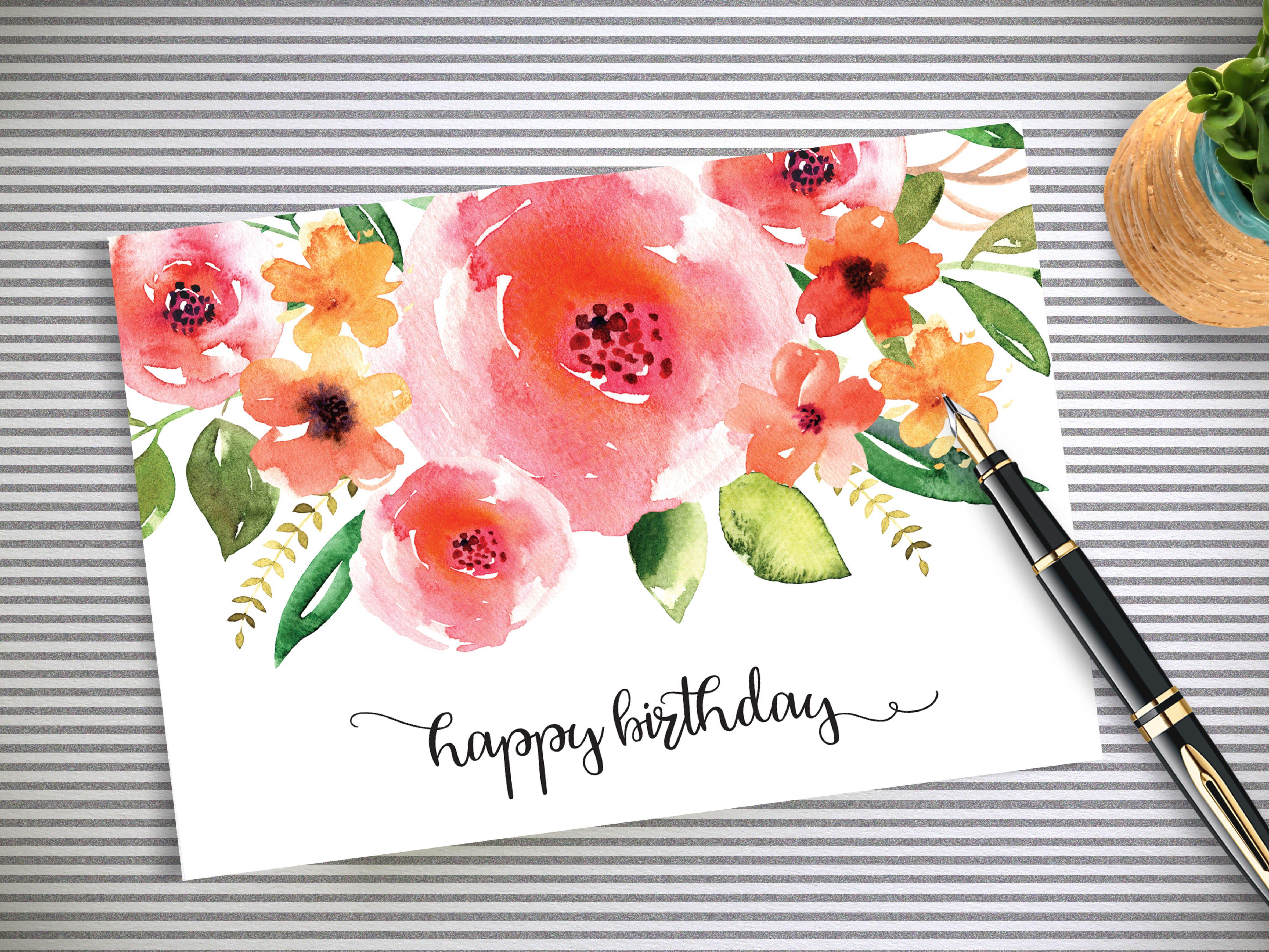 Happy Birthday Card Floral Birthday Card Printable 3 5x5