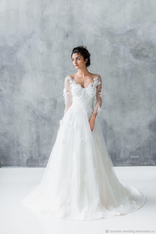 Lace wedding dress open back say yes dress  Buy Wedding dress Dalia on Livemaster online shop  Weddings
