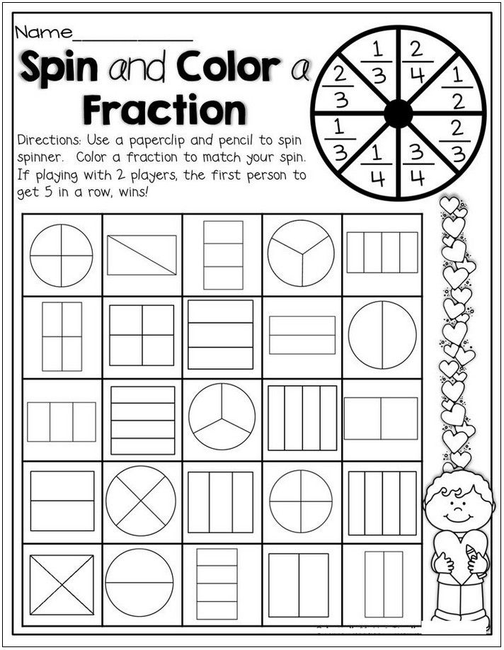 2nd Grade Math Worksheets Fractions Activities for