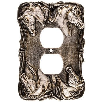 Silver Horse Resin Outlet Cover Silver Horse Outlet Covers Mirror Wall Decor