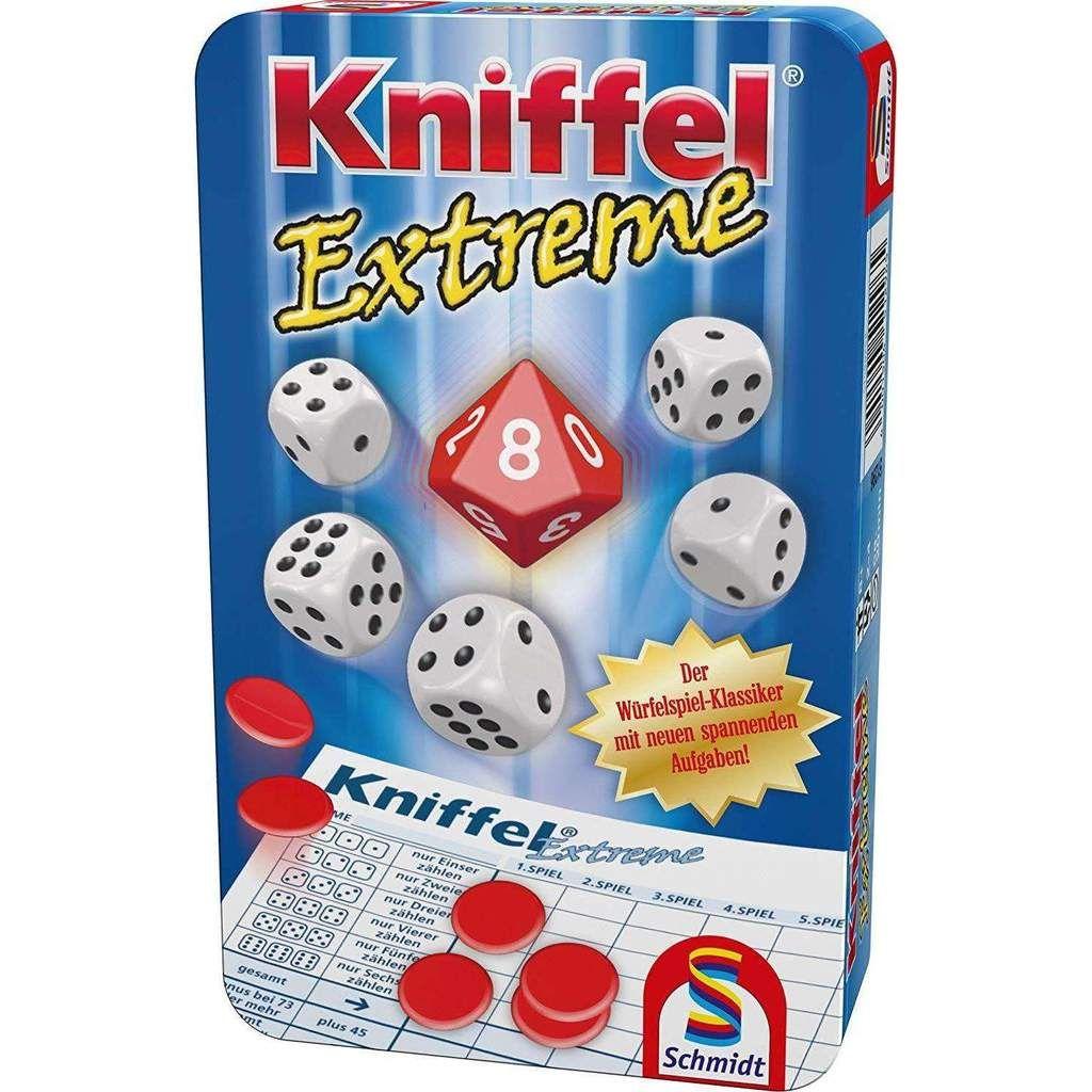 Schmidt Spiele 51296 Kniffel Extreme Bring Mich Mit Spiel In Metalldose Familienspiel Schmidt Spiele Kniffel Familienspiele