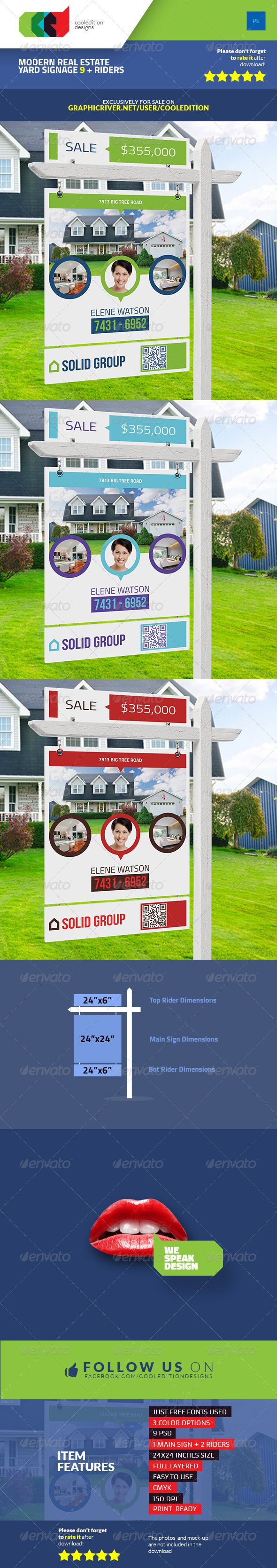 Printable Modern Real Estate Yard Signage Template 9 + Riders | Letreros