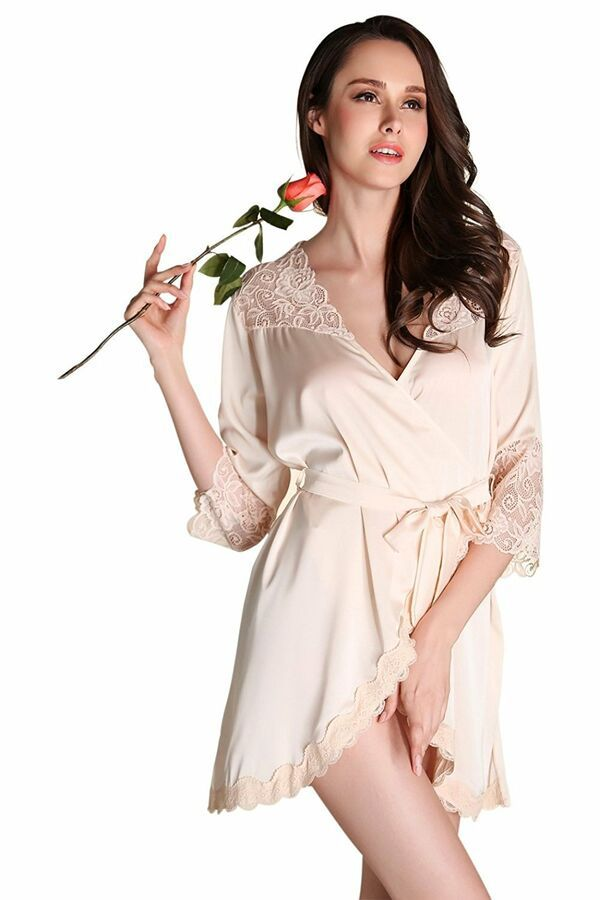 cc0470397b Women Sexy Lace Lingerie Robe Dress 3 4 Sleeve Sheer Mesh Satin Patchwork  Large