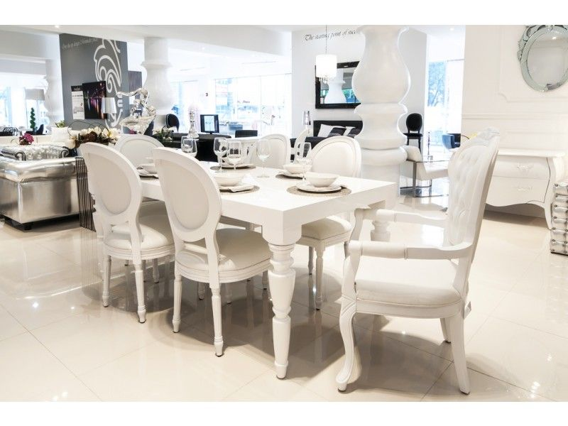Modern Contemporary Baroque Designer White Lacquer Dining