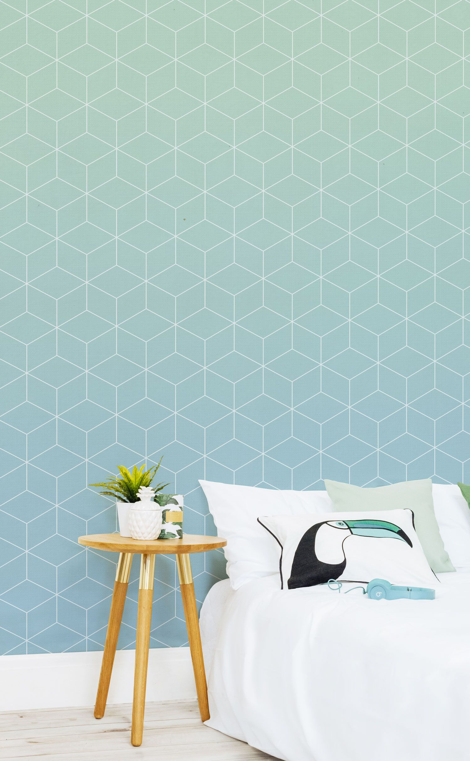 Aquamarine Patterned Ombre Wall Mural Wallpaper bedroom
