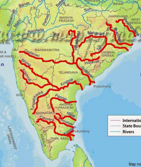 East Flowing Rivers In India Map