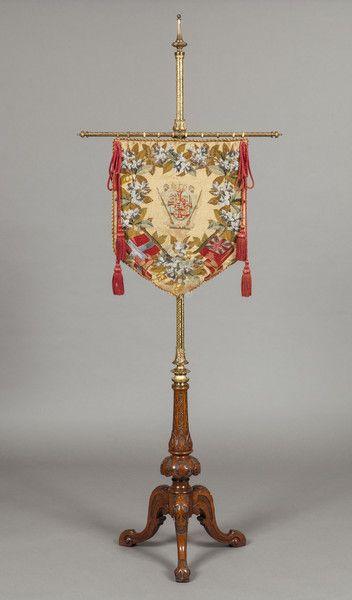 An Antique Pole Screen, c. 1860 England