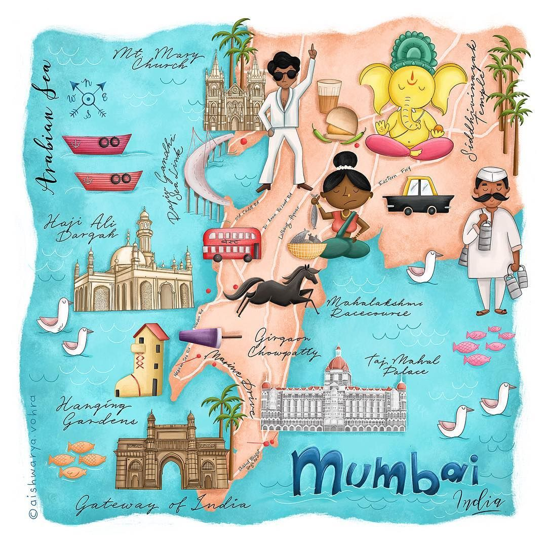 Mumbai Illustrated Map India Poster India Map
