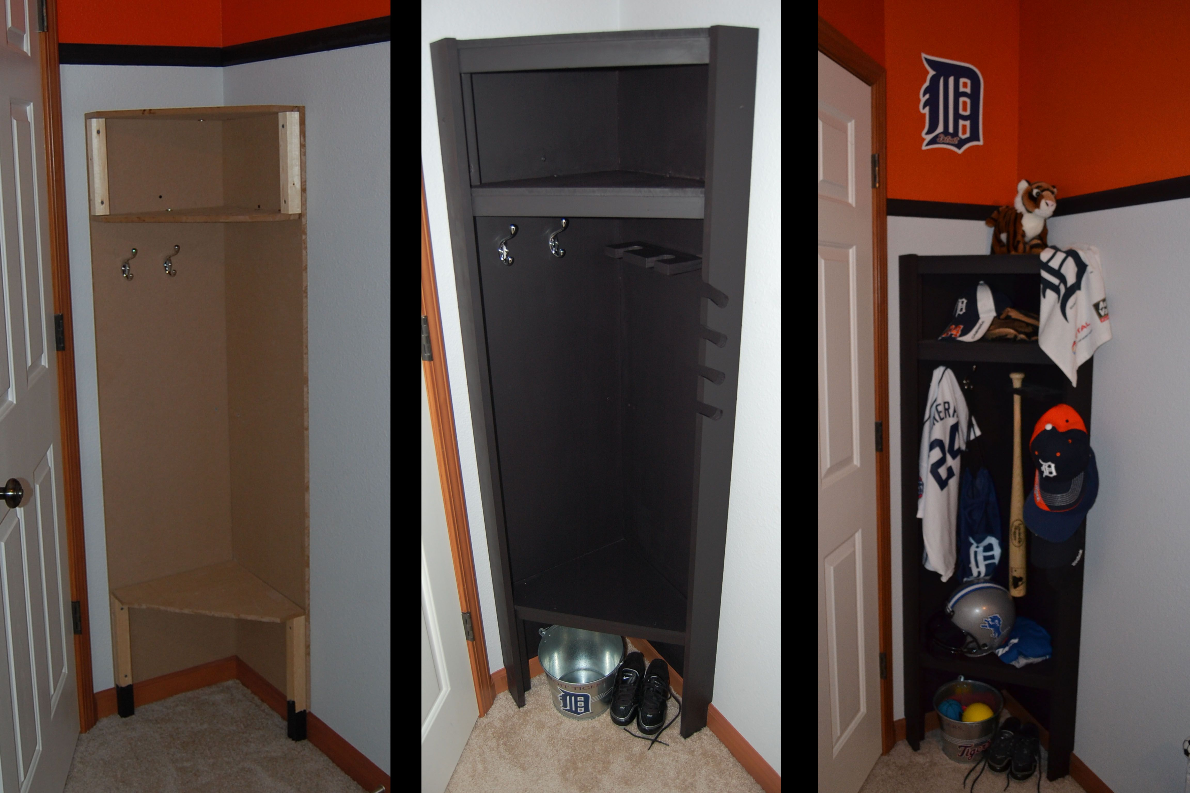 Locker Room Style Sports Cubby For Boys Bedroom Detroit Tigers Makes Use Of Wasted E Behind Door Notched Out Around The Baseboards Because Someday
