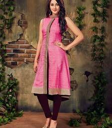 bb50cf6e6ac Buy Pink plain art silk party-wear-kurtis party-wear-kurti online ...