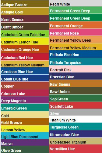 Paint Color Chart Colors Charts Swatches Le Barrel