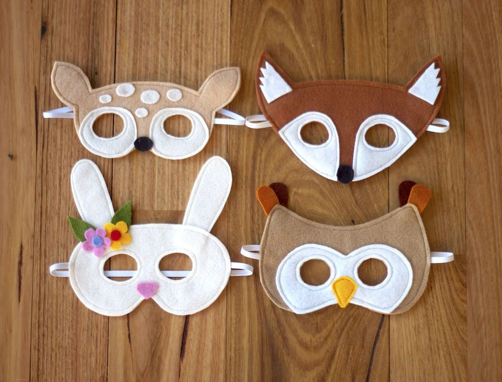 Woodland Animals Mask Pattern - Fox, Fawn, Owl and Bunny | Sewing ...