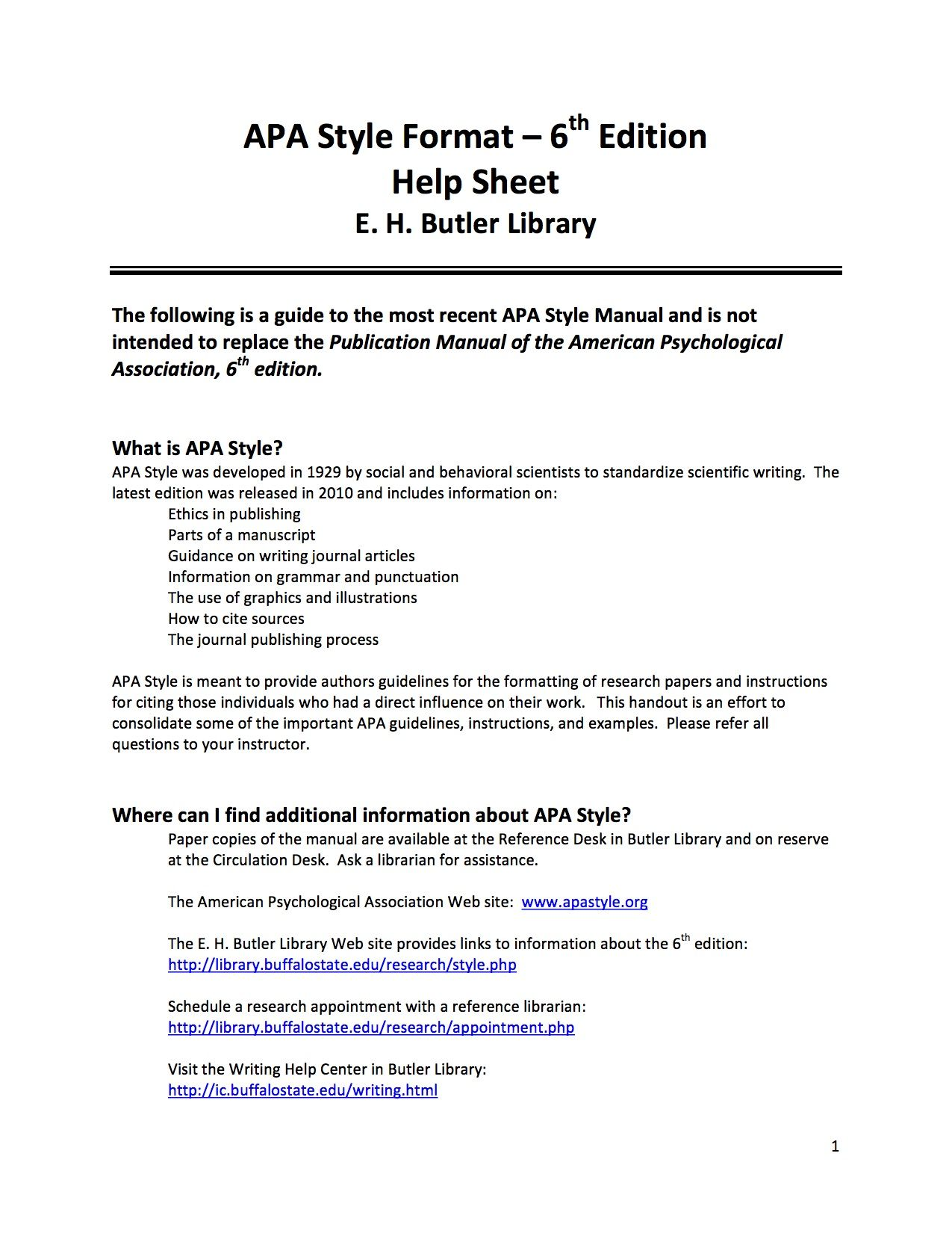 Butler Library S Apa Help Sheet American Psychological Association Format 6th Edition Research Paper Purdue Owl Bibliography Generator