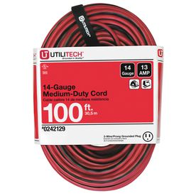 Utilitech 100 Ft 13 Amp 14 Gauge Red Black Outdoor
