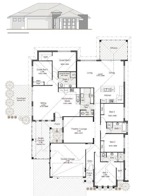 207 Dual Living Custom Design Perth Two Family Areas House Plan Gallery Modern Floor Plans Family House Plans