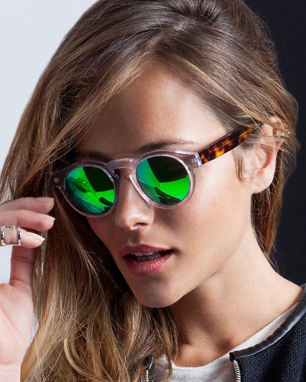 01cf462aae2 Illesteva Leonard Mirrored Lense Sunglasses  Clear Green