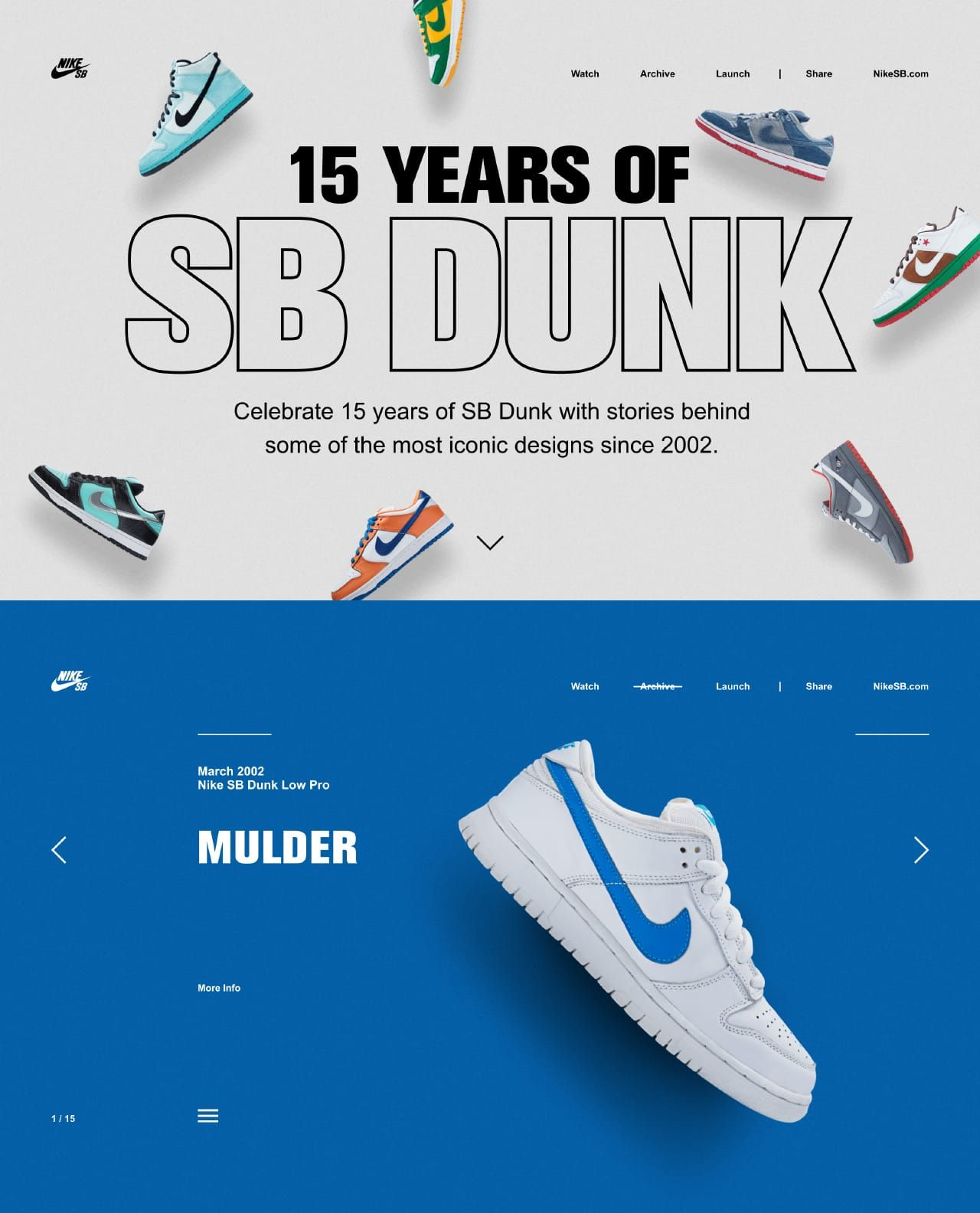 best website b758e a7c91 Brilliant One Pager by Nike celebrating 15 Years of their SB Dunks. The  campaign Landing