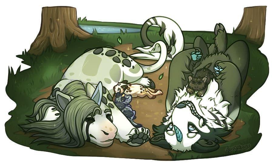 And lastly part 3! The pair being new parents, and finding time to relax when their pups are asleep (believe it or not we currently have about 7 pups for them, the poor couple)  #arcanezoo #kirunhounds #artistsoninstagram #animalartist #rookerydraws #fantasyart #furryart #cuteart #parents #romance #romanceornot? And lastly part 3! The pair being new parents, and finding time to relax when their pups are asleep (believe it or not we currently have about 7 pups for them, the poor couple)  #arcanez #romanceornot?