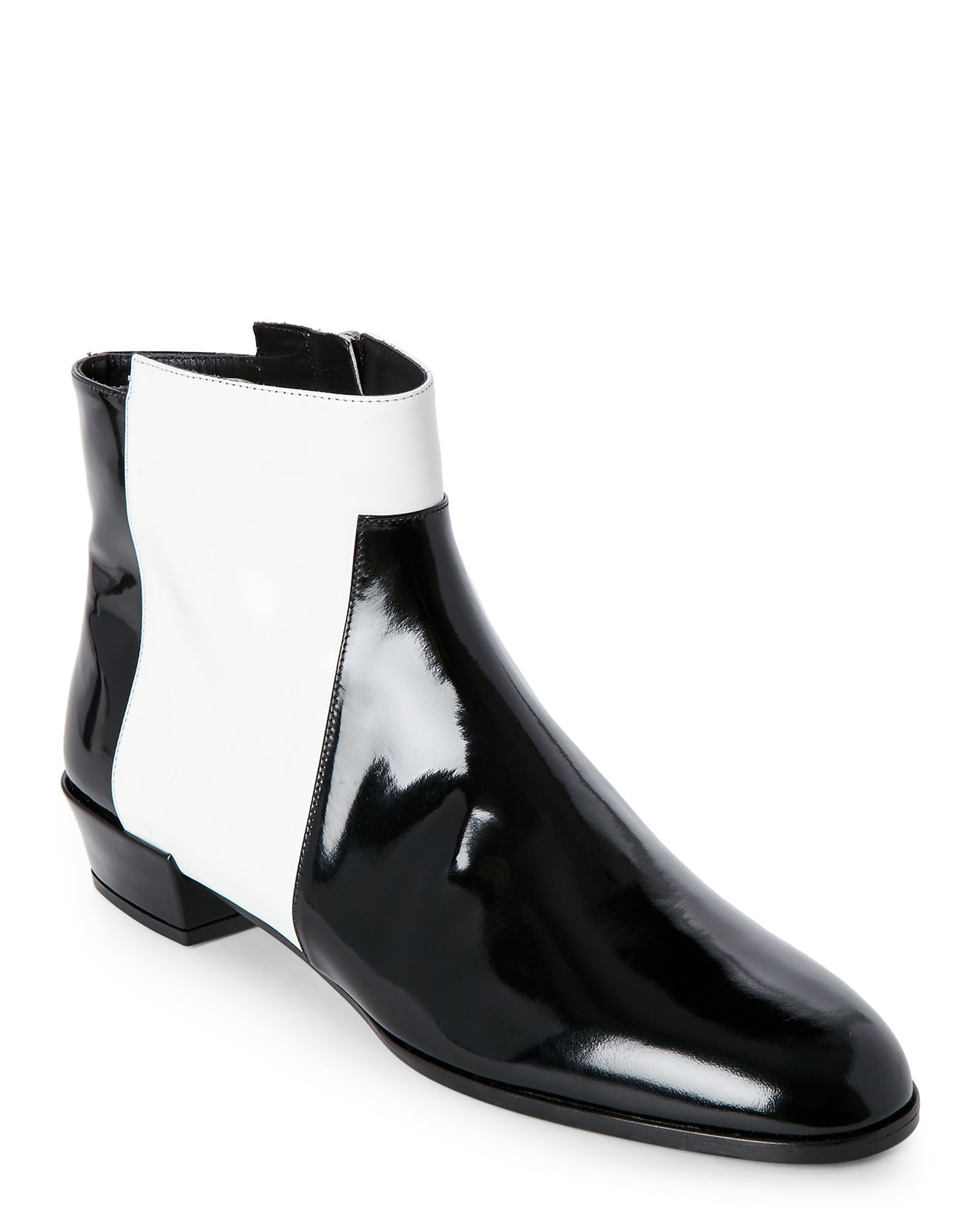 33ce42537ee5 Roger Vivier Black   White Color Block Ankle Boots