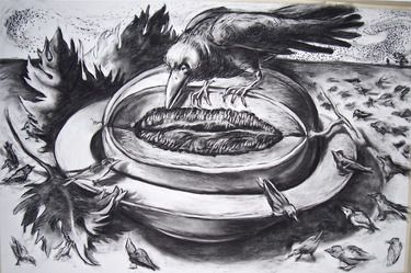 Large Bowl of Fruit IV (with crow and murmuration) Drawing ...