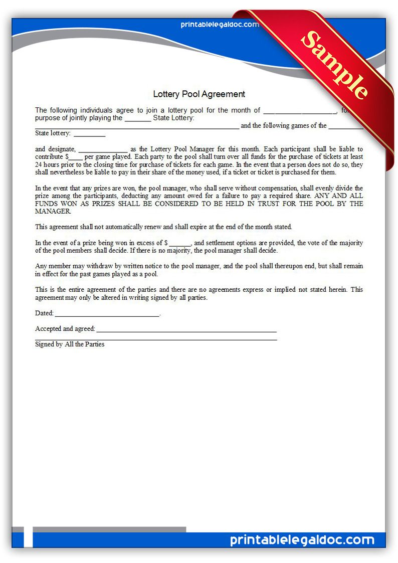 Free Printable Lottery Pool Agreement Legal Forms  Free Legal