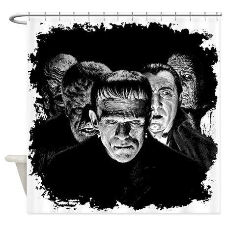 Universal Monsters Black Whie Pop Shower Curtain On Cafepress