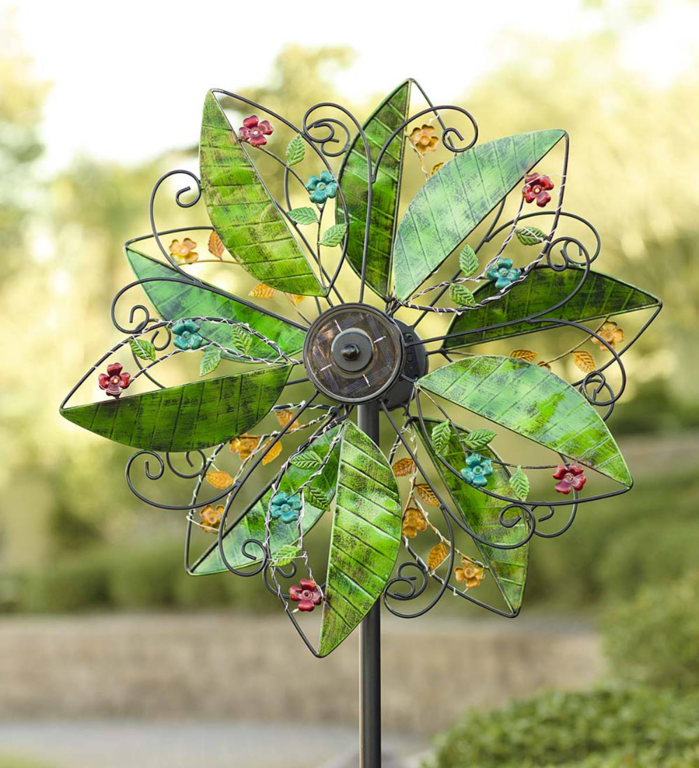 This Colorful Solar Leaves Wind Spinner Has It All Five Large Metal Leaves On Each Of Two Independently Turn In 2020 Metal Wind Spinners Wind Sculptures Wind Spinners