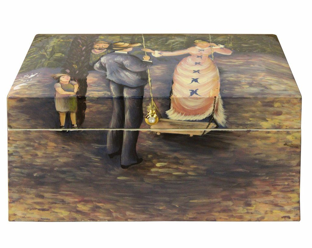 Hallway storage trunk  Lacquer Painting Old English Gentleman And Lady Forest Play Storage