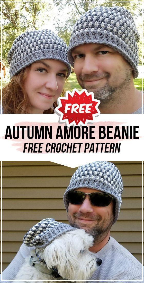 Crochet Autumn Amore Beanie FREE Pattern - easy crochet Beanie pattern for beginners