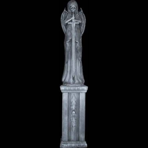 Death Angel  Skull Pedestal Graveyard Statue set Pedestal and - halloween statues
