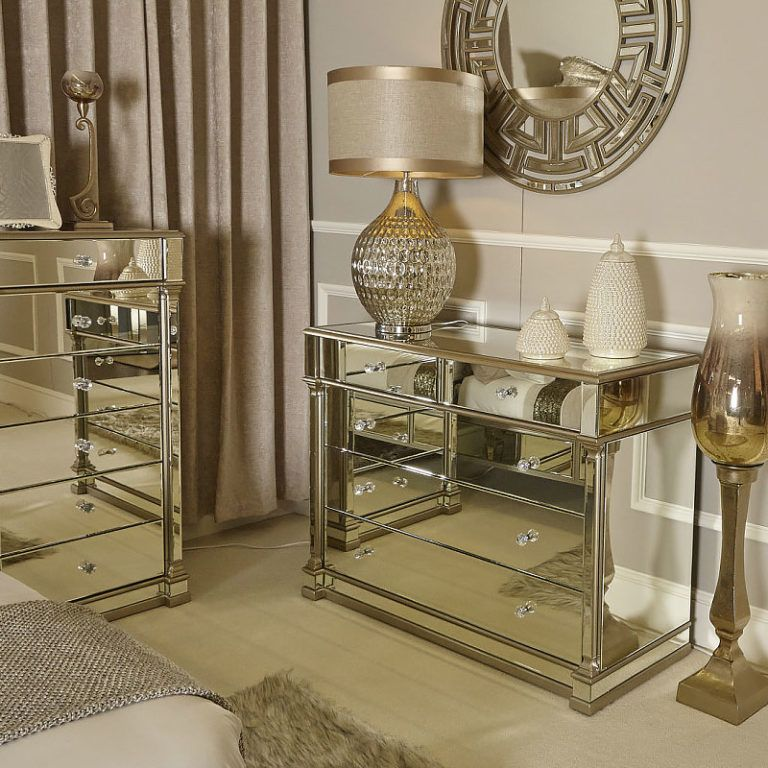 Athens Gold Mirrored 5 Drawer Chest, Gold Mirrored Furniture Uk