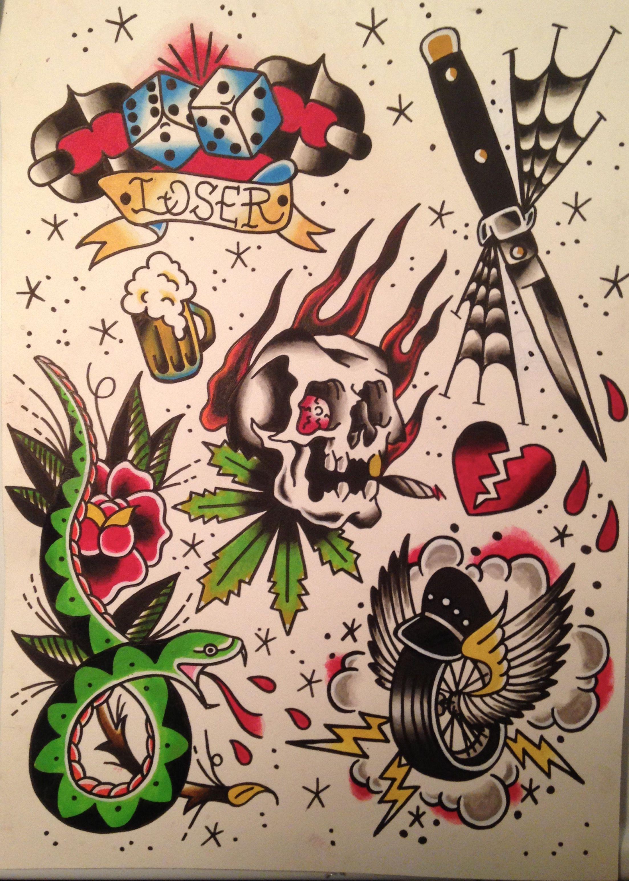 Traditional Flash Sheet 1 Traditional Tattoo Flash American Traditional Tattoo Flash Art