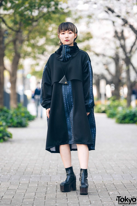 6d49f1efd Modern Minimalist Japanese Street Style w/ Kakuremi Cowl Neck Dress, Dr.  Martens Triangle
