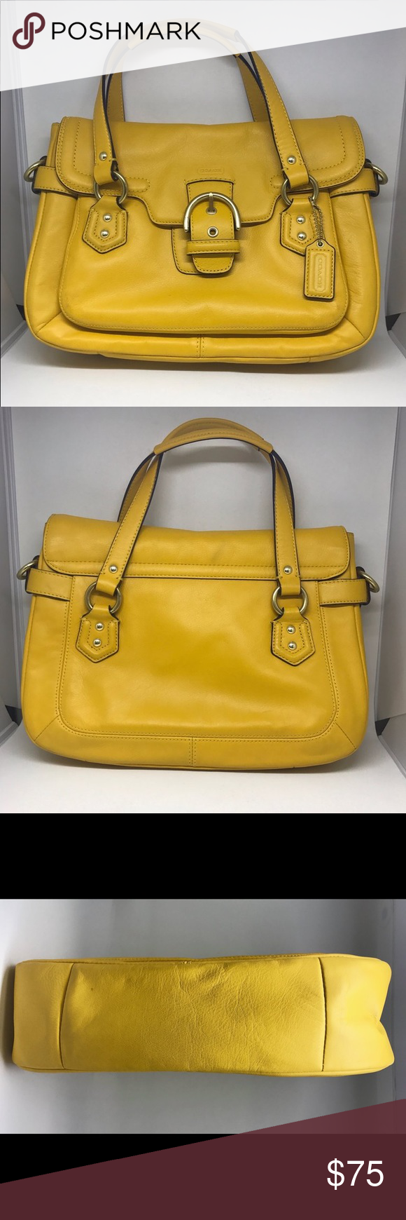 462a49fb63 Coach Purse 195199 Yellow Leather 12