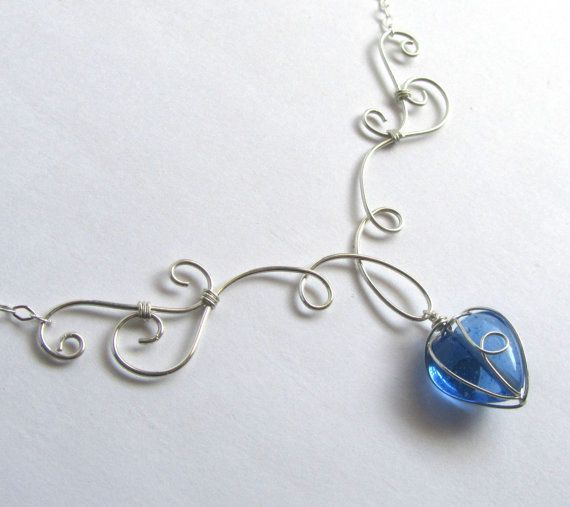Elven Grace Necklace Petite - Silver and Blue Glass Heart - Wire ...