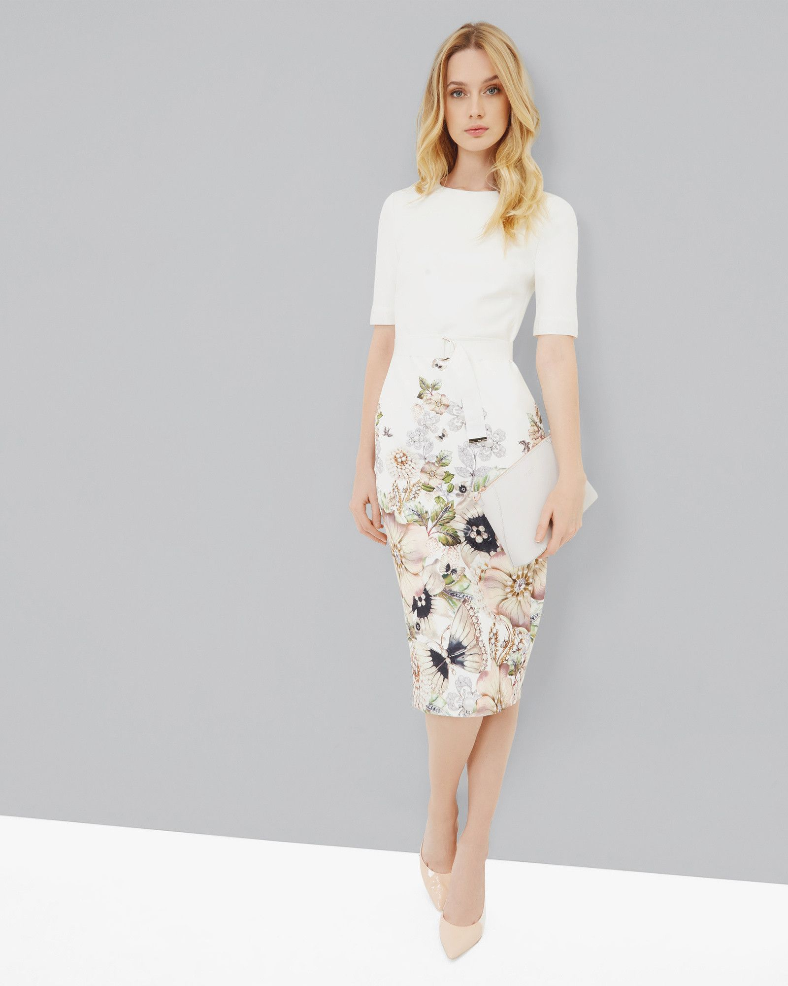 b619e047136800 Bodycon-Kleid mit Gem Gardens-Print - Elfenbein