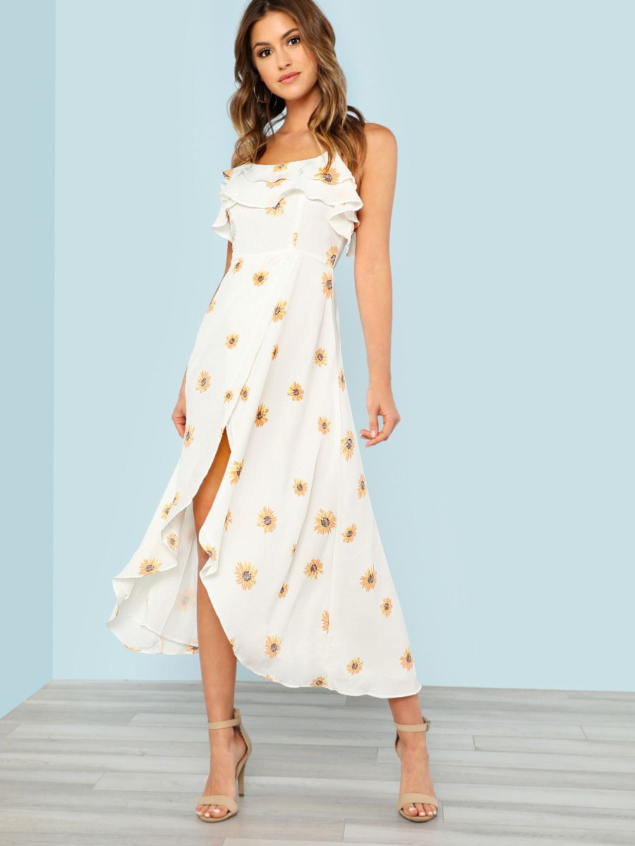 161e5745c8 Shop Sunflower Print High Low Dress with Strappy Back OFF WHITE online.  SheIn offers Sunflower Print High Low Dress with Strappy Back OFF WHITE &  more to ...