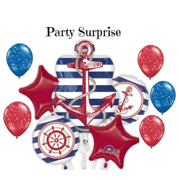 Anchor balloons bouquet nautical party balloons baby for Anchor balloon decoration